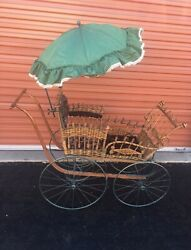 Antique Wicker Baby Carriage Buggy Stroller With Parasol Full Size