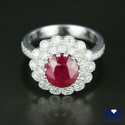 Natural 4.57 Ct Diamond And Ruby Cocktail Ring Right Hand Ring In 14k White Gold