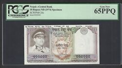 Nepal 10 Rupees Nd1974 P24s Specimen Uncirculated