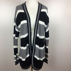 Knit Cardigan Sweater L Large Open Front Striped Pockets Gray Black White Womens
