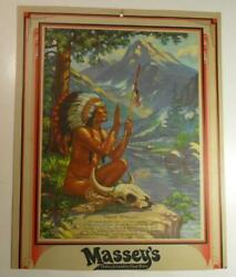 Massey's Dept Store Chelsea Oklahoma Advertising Calendar Backing Sioux Indian