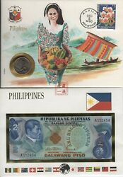 Filipino Collectible Currency -- Piso 1949 2 Bill And 1984 50andcent Coin