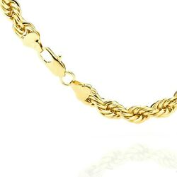 Rope Chain 14k Yellow Gold 2-6.5mm Men Women Hollow Necklace Chain Italy 16-30