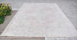 Turkish Rug 110and039and039x150and039and039 Vintage Light Muted Color Rug Oushak Rug 282x385cm 9x12