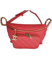 CHANEL PINK CAVIAR WAIST BELT BUM BAG TRAVEL FANNY PACKNew md in ItalywReceipt $4,295.00