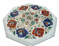 12 Marble Side Table Top Gemstone Pietra Dura Handcrafted Work Christmas Gifts