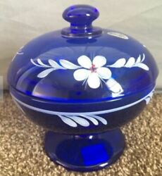 Fenton Blue Candy Dish With Lid Hand Painted