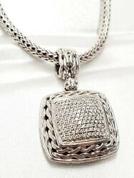 John Hardy Square Pave Diamond Pendant W/ 16 Sterling Silver Classic 5mm Chain