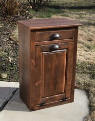 Tilt Out Trash Bin Primitive Finish Amish Handmade Pine Wood With 10 Plastic Can