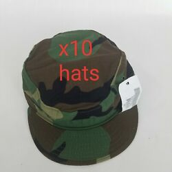 10 New Us Military Issue Army Woodland Camouflage Bdu Patrol Cap Hat Size 6 1/2
