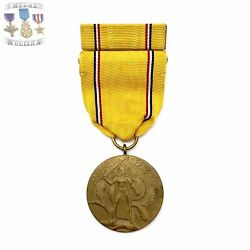 """Type-1 Wwii Us Army American Defense Medal """"ring Top"""" Service Ribbon Bar 003"""