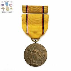"""Type-1 Wwii Us Army American Defense Medal """"ring Top"""" Service Ribbon Bar Stk 04"""