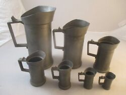 Lot Of 7 Antique Pewter Pint Flagon Tankards In Descending Sizes