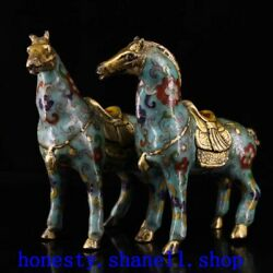 A pair of exquisite Chinese Handmade Copper cloisonne horse statue Collection