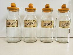 Vtg Wheaton Set Of 4 Glass Candy/canister Jars W Gold Foil Labels And Wood Lids