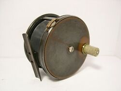 Scarce Vintage Antique Farlow 4andfrac12 Brass Faced Wide Drum Fly Fishing Reel