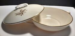 Lenox Wheat Pattern Round Covered Vegetable Serving Dish- R-442 B V-small Chip