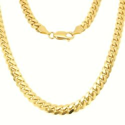 14k Solid Gold Miami Cuban Link Chain 2.6-10mm Men Women Necklace Italy 16-30