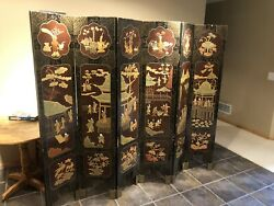 Antique Oriental Lacquer Large Room Divider Screen 6 Section Intricate Used Worn