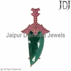 17.19ctw 14k Rose Gold Natural Emerald Ruby Horn Charm Pendant Antique Jewelry