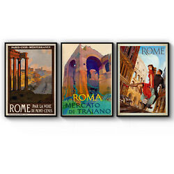 Set of 3 Vintage Rome Italy Travel Tourism Art Poster Print: A3 A2 A1 A0 Framed