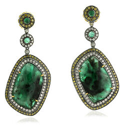 Memorial Day Sale Pave Diamond Emerald Dangle Earrings Gold 925 Silver Jewelry