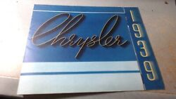 1939 Chrysler Sales And Specifications Book Brochure Booklet Original