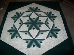 Hand Quilted Handmade Quilt King, Queen Or Full Size, Green And Off White, New