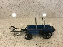 Vintage Cast Iron Toy Horse Drawn Blue Covered Wagon
