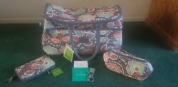 Vera Bradley 3 Print Matching 2 SMALL & LARGE Wheeled SET Travel Bag  NWT $140