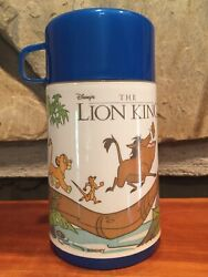 Disney The Lion King Aladdin Thermos 8oz Hot Cold Open Mouth Mug W Cup Top Vtg