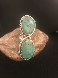 Long Native American Navajo Sterling Silver Apache Turquoise Ring J Sz 9 2890