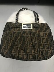 Us Seller Authentic Fendi Coating Zucca Leather Large Tote Bag Usable