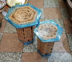 Two Handmade Wooden Dresser Tables With Geometric Inlays, Ottoman Empire Style.