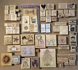 Huge Stamp Lot 300+ Stamps Stampinand039 Up/all Night Media/inkadinkado Pre-owned