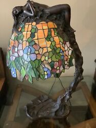 """E. Thomasson Signed Daphne Laurel Tree Bronze Stained Glass Lamp 28"""" Female Nude"""