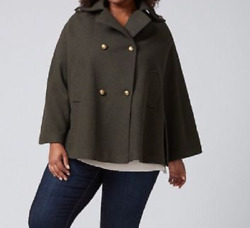 Lane Bryant Beautiful Olive Green Military Cape - Gold Tone Buttoning Size 18/20