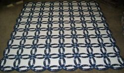 Hand Quilted Handmade Double Wedding Ring Quilt, King, Queen Or Full Size, Blue
