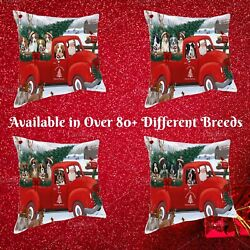 Christmas Santa Express Delivery Red Truck Throw Pillow, Dogs Cats Couch Pillow