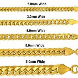 16'' TO 30'' 14K GOLD MIAMI CUBAN CHAIN SOLID WOMEN MEN'S NECKLACE 2.0 to 10.0MM