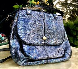 Designer Lodis Blue Silver Metallic Shimmer Rare Crossbody Purse Bag