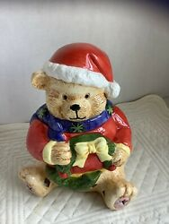 Santa Bear Three Piece Tealite Holder. Excellent Sweet Christmas Decor. Red Bear