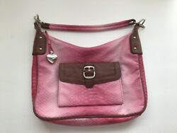 Sharif Studio Leather Bag Pink Ombré Designer Fashion Silver Heart Charm Purse