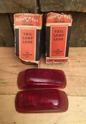 Nos Vintage Lot Of 4 1941 Plymouth Lynx Eye Ruby Glass Tail Lamp Lens T-368.