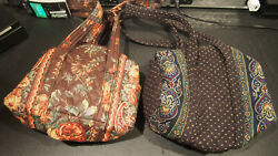 VINTAGE VERA BRADLEY LOT OF 2 PURSE BAG QUILTED PAISLEY DESIGN RARE TOTE