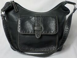 Fossil Black Leather White Stitching Pockets Tote Hobo Satchel Purse Shoulderbag