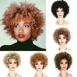 Short Afro Curly Hair Wig Pexie Wig For Black Women African Lady Cosplay Party $18.98