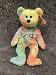 Authentic Ty Beanie Baby Peace The Bear - Mint Condition And Super Rare