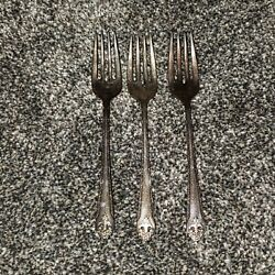 Holmes And Edwards Lovely Lady Silverplate Flatware Set Of 3 Salad Forks