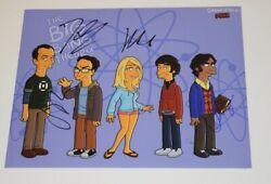 The Big Bang Theory Cast Signed Autographed 11x14 Photo X4 Jim Parsons Cuoco Coa